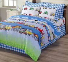 4-Piece Truck Tractor School Bus Police Car Reversible Duvet Cover Set Twin