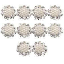 10pcs Wedding Jewelry Crystal Diamante Pearl Brooches DIY Bouquet Findings 20mm