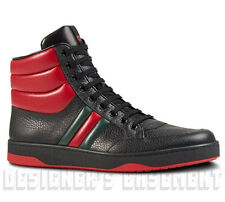 GUCCI Mens 9.5G* black & Red/Green WEB leather RONNIE High Top sneakers NIB Auth