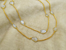 Long Gold Plated Strand Chunky Moonstone Necklace Fashion Statement Jewelry