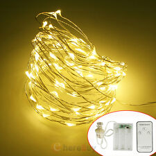 30/50/100 LED Battery Powered Copper Wire Christmas String Fairy Light W/ Remote