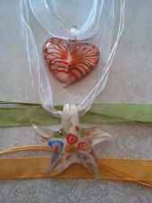 Lampwork Glass Orange Gold Heart White Starfish Pendant Yellow Green Necklace