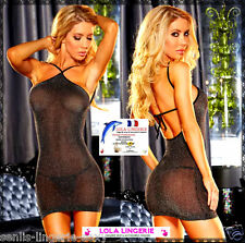 Sexy Mini Robe + String + Bas Lingerie Coquine Ensemble Moulant Brillant Argenté