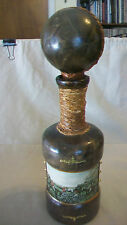 VINTAGE EMPTY LEATHER WRAPPED BOTTLE OR DECANTER FROM ITALY, WITH FOX HUNT SCENE