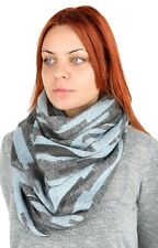 TAHARI Woman S Brand New Light Blue And Gray Lurex Infinity Scarf Stole