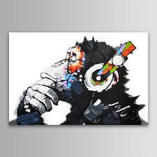 Unframed Abstract Wall Art DJ MONKEY Chimp On Canvas Animal Print Picture Poster