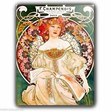 METAL WALL PLAQUE Alfons Alphonse Mucha CHAMPENOIS VINTAGE SHABBY FRENCH poster