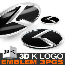 3D K Logo Front Grill + Trunk + Steering Wheel Emblem For KIA 2011-2016 Picanto