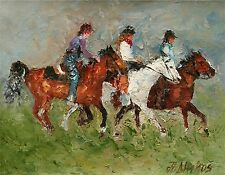 ANDRE DLUHOS riders equestrian horse equine ORIGINAL palette knife oil painting