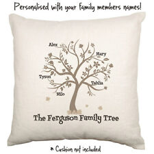 Family Tree Name Surname Love Gift Personalised Decorative Cushion Cover