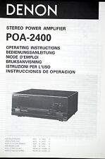DENON poa-2400 Stereo Power Amplifier originale manuale d'uso/User Manual