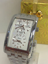 MENS PARMEX  2 DIAL TIME ZONE  BIG RECTANGULAR STAINLESS STEEL WATCH  NEW G80762