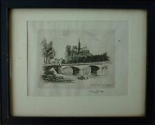 "Antique Vintage Signed L. ROBIN ""Paris Notre Dame"" Original Etching"