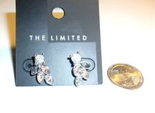 THE LIMITED POST earrings CLEAR & PINK CRYSTAL  FLOWER NWT
