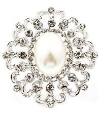 VICTORIAN VINTAGE STYLE FAUX PEARL CLEAR RHINESTONE BRIDAL WEDDING BROOCH PIN