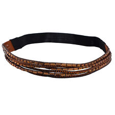 Lux Accessories Beaded Studded Amber Stretch Headband