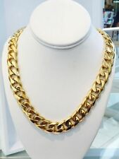 """Men's14K Gold Plated Miami Cuban Curb Link Chain12mm 30"""" Heavy Solid Cheapest"""