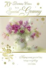 70th Birthday Wishes To A Special Granny Flower Vase Design Happy Birthday Card