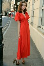 Vintage 70s Ossie Clark Radley  Patterned Red Classic Iconic Maxi Dress S M VTG