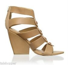 NEW 7 M $265 L.A.M.B. by GWEN STEFANI Caged Leather MIRANDA Sandals Heels Wedge