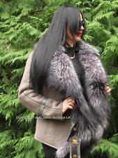 NEW 2017 OLIVE REAL SHEARLING LAMBSKIN COAT JACKET & SILVER FOX FUR COLLAR M