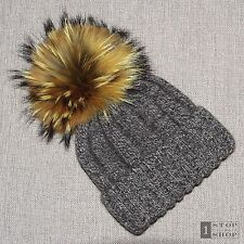 MONGOLIAN 100% YAK DOWN LUXURY KNIT UNISEX BEANIE HAT HUGE REAL FUR POMPOM BNWOT
