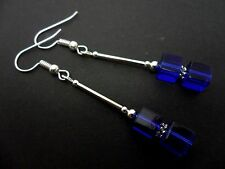 A PAIR OF LOVELY  SILVER PLATED BLUE CUBE BEAD EARRINGS. NEW.