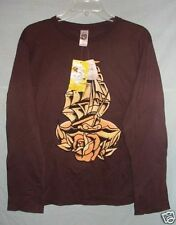 ED HARDY L/S BROWN LOVERSHIP MEN'S T-SHIRT SZ M NWTGS