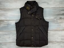 SUPERDRY MOTORCYCLES MEN WAXED TON UP 58 BROWN WAISTCOATS VEST SIZE L LARGE