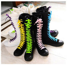 Wholesale PUNK EMO Girl's Shoes Canvas Boots Zip Lace Up Knee High Sneaker Pumps