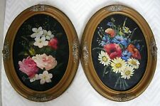 LISTED ARTIST NY EUGENE LAFORET OIL PAINTING PAIR FLORAL FRAMED WOOD SIGNED