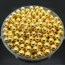 New 6mm 100Pcs Golden Acrylic Round Pearl Spacer Loose Beads Jewelry Making #UK