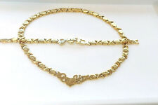 """Womens Hugs And Kisses Gold """"I Love you"""" Necklace And Bracelet Set 18""""- Style 2"""