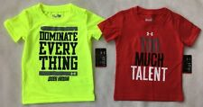 UNDER ARMOUR Baby Boy Shirt 12 MONTHS LOT OF 2 Short Sleeve Graphic Tshirt  NWT