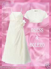 NWT AGE 8/9 Bridesmaid Communion Dress Bolero Jacket MARGAUX IVORY SATIN BHS £83