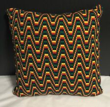 Mid Century Modern Vintage Finished Handmade Pillow Abstract Needlepoint 12""