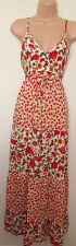 PUSSYCAT LONDON WHITE RED YELLOW WHITE ROSES STRAPPY BELTED LONG MAXI DRESS S