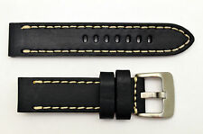 22mm black genuine leather watch band heavy duty strap fit Luminox white stitch