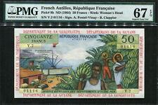 French Antilles 1964, 50 Francs, P9b, PMG 67 EPQ Supber GEM UNC