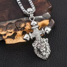 Cool Men's LF Stainless Steel Lion Cross Skull Pendant Necklace 22""
