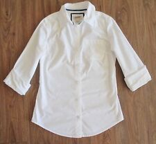 ARIZONA Basic White Fitted Long Sleeve Button Down100% Cotton Blouse Sz XS