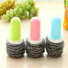 kitchen stainless steel pot brush chainmail scrubber cleaner Tool With Handle J