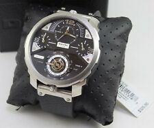 NEW AUTHENTIC DIESEL MACHINUS DADDY FOUR TIME ZONE SILVER BLACK MEN DZ7379 WATCH