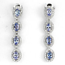 31 CTS!! OUTSTANDING! NATURAL AAA RICH BLUE VIOLET TANZANITE 925 SILVER EARRINGS