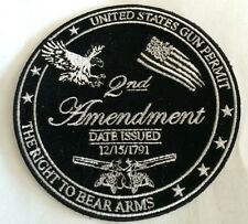 "2nd Amendment ""The Right To Bear Arms""  Embroidered Iron On Patch!  4""Round WOW!"