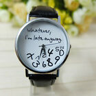 Cool Black&White Women's Men's Whatever I'm Late Anyway Leather Wirst Watch
