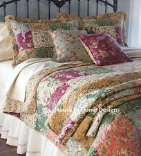 ANTIQUE COUNTRY PATCHWORK Full / Queen QUILT SET : FLORAL 100% COTTON BEDSPREAD
