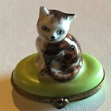 Hand Painted Peint Main Kitten Trinket Box from Limoges France