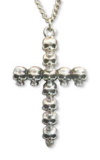 Gothic Multi Skull Cross Silver Finish Pewter Pendant Necklace NK-23