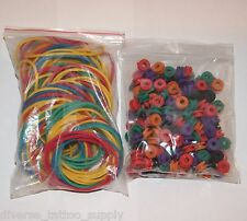 100 Rainbow Sorted Color DS Grommet Nipples 100 Rubber Bands Tattoo Kit Supply
